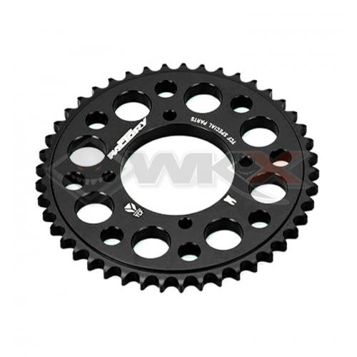 Piece Couronne aluminium YCF axe 75mm 43 dents 420 NOIR de Pit Bike et Dirt Bike
