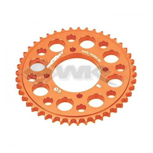 Piece Couronne aluminium YCF axe 75mm 45 dents 420 ORANGE de Pit Bike et Dirt Bike