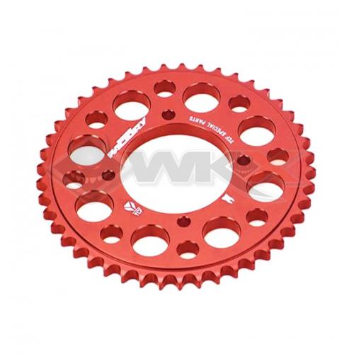 Piece Couronne aluminium YCF axe 75mm 45 dents 420 ROUGE de Pit Bike et Dirt Bike