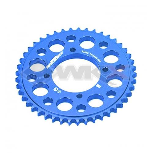 Piece Couronne aluminium YCF axe 75mm 47 dents 420 BLEU de Pit Bike et Dirt Bike