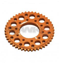 Piece Couronne aluminium YCF FACTORY axe 75mm 45 dents 420 ORANGE de Pit Bike et Dirt Bike
