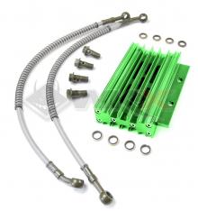 Piece Radiateur aluminium VERT + Raccords de Pit Bike et Dirt Bike