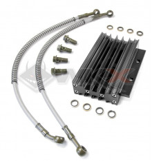 Piece Radiateur aluminium NOIR + Raccords de Pit Bike et Dirt Bike