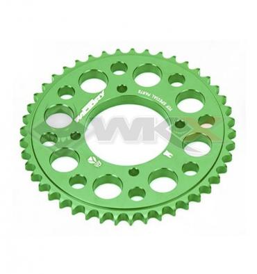 Piece Couronne aluminium YCF axe 75mm 47 dents 420 VERT de Pit Bike et Dirt Bike