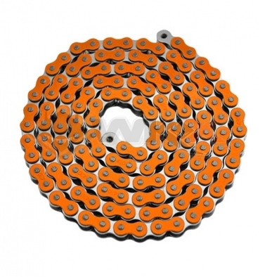 Piece Chaine de transmission TECNIUM 420 ORANGE 140 maillons de Pit Bike et Dirt Bike