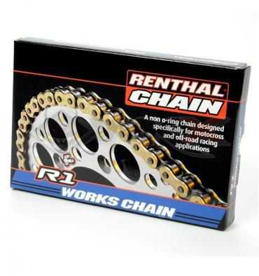 Piece Chaine de transmission 428 RENTHAL R1 WORKS 120 maillons de Pit Bike et Dirt Bike