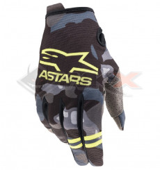Piece Gants enfant ALPINESTARS Radar taille YS CAMO JAUNE de Pit Bike et Dirt Bike
