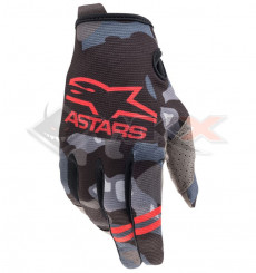 Piece Gants enfant ALPINESTARS Radar taille YL CAMO ROUGE de Pit Bike et Dirt Bike