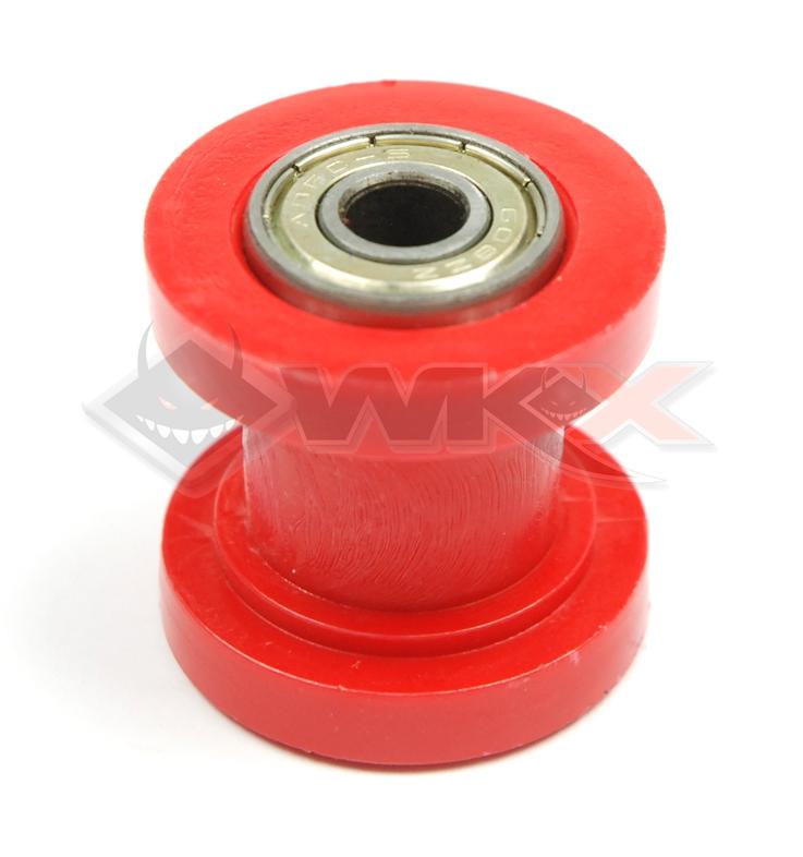 Roulette tendeur de chaine sur roulement axe 10 mm ROUGE