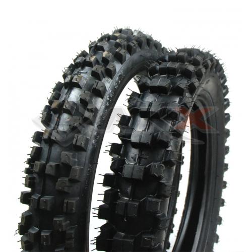 Piece Paire pneus GUANGLI 14  /17 + chambres  de Pit Bike et Dirt Bike