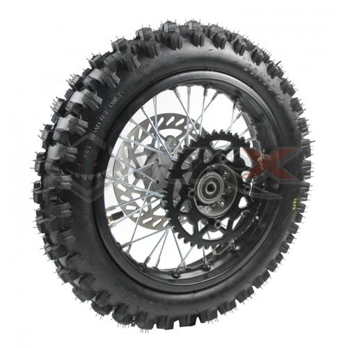 Piece Roue arrière complète 14' axe 15mm de Pit Bike et Dirt Bike