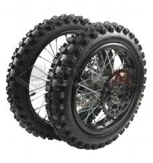 Piece Set de roues avant 14' + arrière 12' axe 15mm de Pit Bike et Dirt Bike