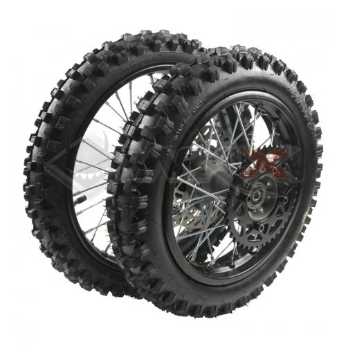 Piece Set de roues avant 12' + arrière 10' axe 15 mm de Pit Bike et Dirt Bike