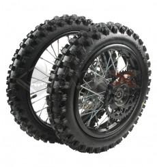 Piece Set de roues avant 12' + arrière 10' axe 15mm de Pit Bike et Dirt Bike