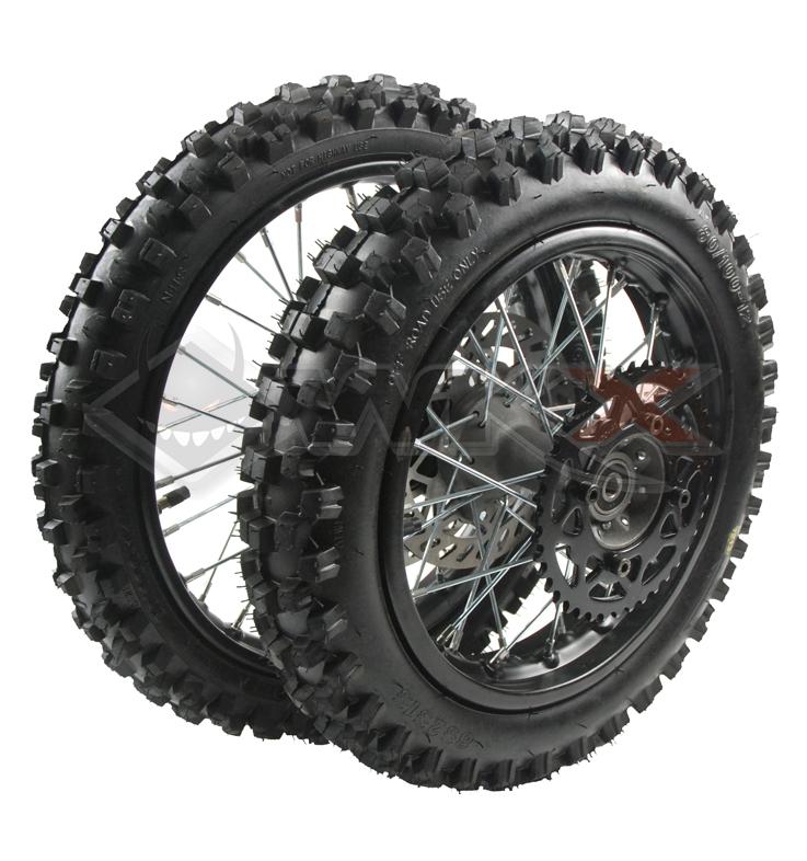 Set de roues avant 12' + arrière 10' axe 15 mm