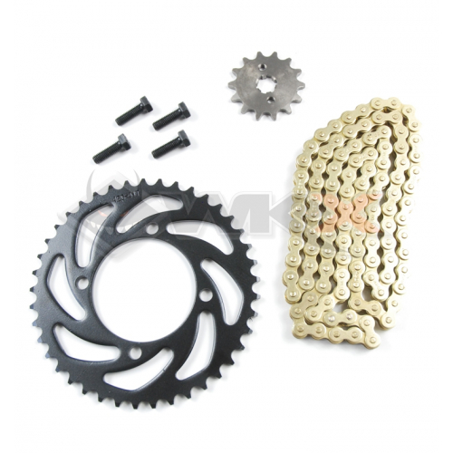 Piece Kit chaine KMC 420 - Couronne 37 - Pignon 13 de Pit Bike et Dirt Bike