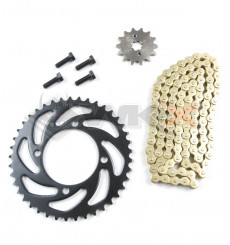 Piece Kit chaine KMC 420 - Couronne 37 - Pignon 14 de Pit Bike et Dirt Bike