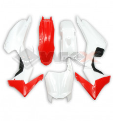 Piece Kit plastique type CRF 110 BLANC / ROUGE de Pit Bike et Dirt Bike