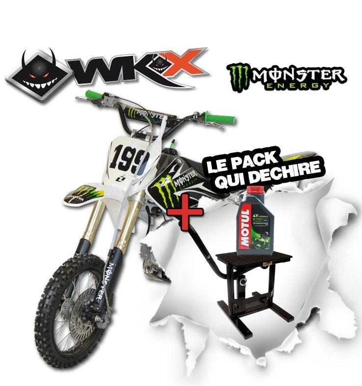 Pit Bike WKX 125 édition spéciale MONSTER - CRF70 + Lève moto noir + Huile Motul 5100 10W40 4T