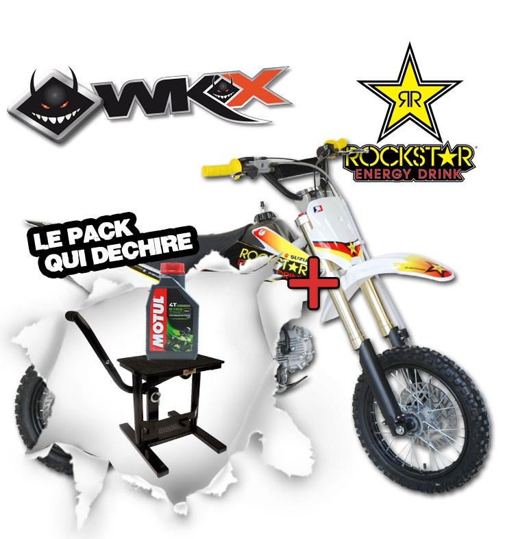 Pit Bike WKX 125 édition spéciale ROCKSTAR - CRF70 + Lève moto noir + Huile Motul 5100 10W40 4T