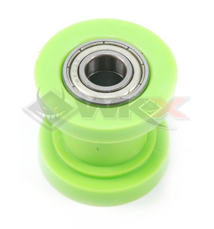 Roulette tendeur de chaine sur roulement axe 10 mm VERT