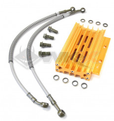 Piece Radiateur aluminium OR + Raccords de Pit Bike et Dirt Bike