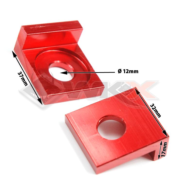Tendeur de chaîne ROUGE forme carré de 12 mm